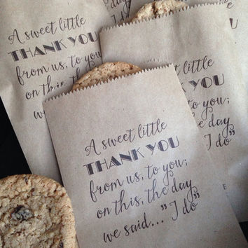 DIY Wedding Favor Bags Custom Text Printed for YOU Personalized Candy, Utensil holder, Lottery Ticket Holder, Cookie Bag