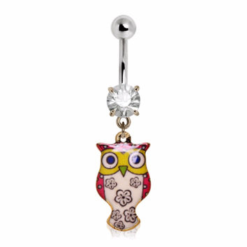 316L Stainless Steel Flower Blossom Owl Navel Ring