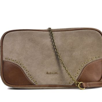 Paul Smith Womens Beige Suede Calf Leather Inserts Shoulder bag