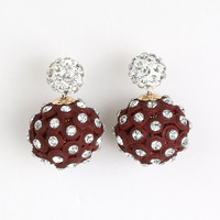Coffee Crsytal Ball Through And Through Earrings