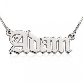 Old English Style 0.925 Silver Custom Name Necklace
