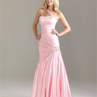 One Shoulder Strapless Asymmetrical Crystal Broach Satin Prom Dress PD10790