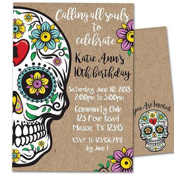 Sugar Skull Birthday Invitation - Sugar Skull Invitations - Kraft Skull Invite -  Day of the Dead Bridal Shower Invitation - Skull Wedding