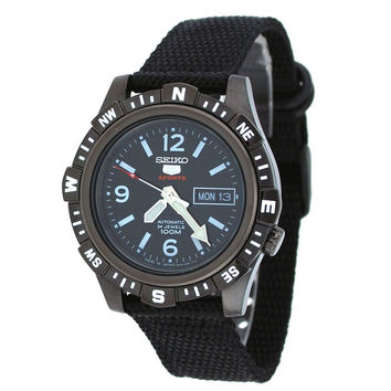 Seiko SRP147 Men's 5 Sports Black IP Steel Black Nylon Strap Automatic Watch