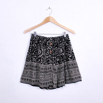 Adorable Handmade Mini Skirt - one size - black and white, geometric tribal print, sheer rayon - FREE worlwide shipping