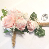 Peony boutonniere and corsage, Pink filter paper Groom boutonniere, Prom corsage, Prom boutonniere, Fake Flower Corsages, Peony corsages
