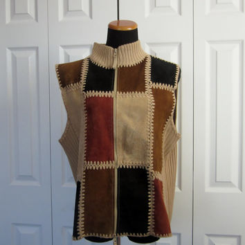 Vintage Patched Suede Leather Vest Zipper Front Sleeveless Sweater Tan and Brown Ribbed Knit with Leather Patches Womens XL Hippie Vest