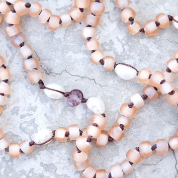 Blush pink Bohemian pearl necklace or bracelet Tribal glass beads Pastel pink mystic quartz Hand knotted beaded Everyday boho jewellery