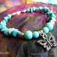Blue Anxiety Disorder Turquoise Tibetan Silver Butterfly Charm Awareness Warrior Bracelet - Spoonie, IC Interstitial Cystitis, Anxiety, PCOS
