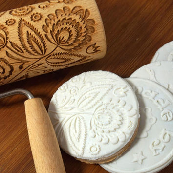 Folk floral rolling pin for cookies - embossing roller