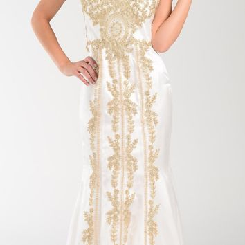 Poly USA 7480 Lace Appliques Rhinestones Prom Dress Off White Gold Long