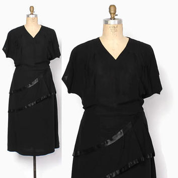 Vintage 40s Plus Size Dress / 1940s Black Satin Trim Hip Swag Cocktail Dress XL - XXL