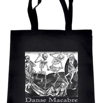 The Danse of Death Danse Macabre Tote Bag Book Handbag Skeletons