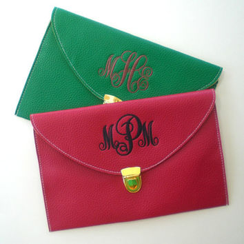 Christmas Clutch Purse with Detachable Chain Monogram Gift Under 30 Dollars