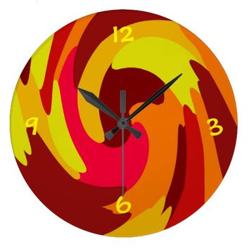 Warm Fall Colored Camo Swirl Design Clock
