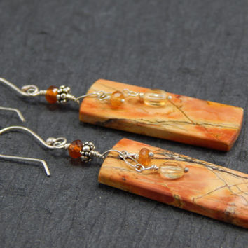 Jasper dangle earrings, sterling silver, garnet, citrine, handmade findings