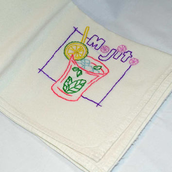 Hand Embroidered Vintage Design Tea Towel or Bar Towel, Mixed Drink Mojito Great Gift Idea