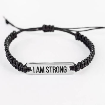 I Am Strong Bracelet, Inspiration Bracelet, Word Bracelet