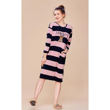 MOSCHINO Trending Women Stylish Embroidery Cartoon Bear Print Long Sleeve Round Collar Pink Stripe Nightgown Skirt Dress I13427-1