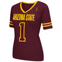 Arizona State Sun Devils Women's Disco V-Neck T-Shirt – Maroon