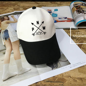 PNW Baseball Cap, Pacific Northwest, Camping hat, Low-Profile Baseball Cap Hat Tumblr Inspired Pastel Pale Grunge