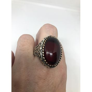 Vintage 1970 Gothic Sterling silver Genuine antique Red Glass Mens Ring