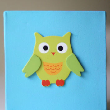 Kids Decor Canvas Artwork with 3D Owl Appliqué - 6x6 inches for Nursery Playroom Children's Room - READY to SHIP