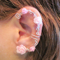 "Non Pierced Ear Cuff  ""Wild Roses"" Cartilage Conch Cuff Silver tone Prom Wedding Bridal"