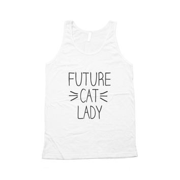 Future Cat Lady Whiskers Typography Unisex Tank Top