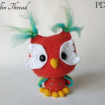 Elfin Thread- Ottis The Owl Amigurumi PDF Pattern (Crochet Colorful Owl Pattern)