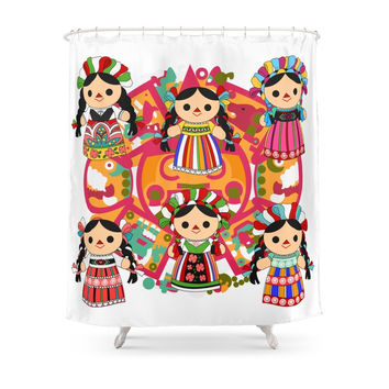 Society6 Mexican Dolls Shower Curtains