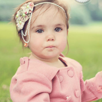 Bailey Headband - All ages - Newborn Photography prop - Vintage couture feather headband