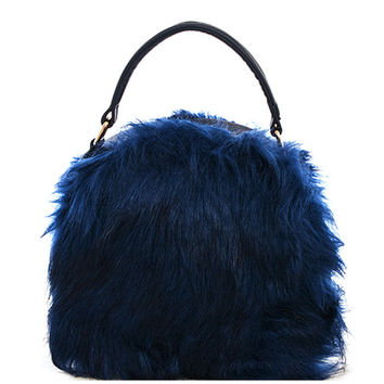 Round Faux Fur Canteen Purse
