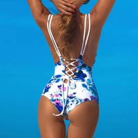 Floral one piece sexy print swimsuit
