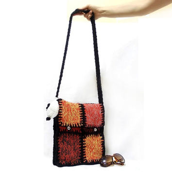 Knitted bag, Messenger bag, Free Shipping, Orange ...