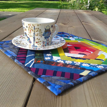 Marimekko Quilted Mug Rug, Mini Quilt, Snack Mat, Hot Pad, Small Placemat, Candle  mat, Rainbow Colors