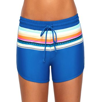 Striped Cobalt Blue Drawstring Board Shorts (8-10) Medium