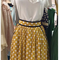 Polka dot perfection skirt and Uptown ruffles top