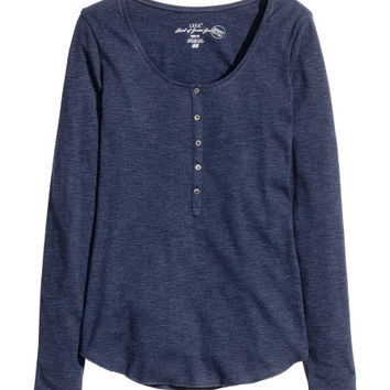 Jersey Top with Buttons - from H&M