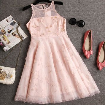 Bodycon Short Sleeve Cute Chiffon Lace Dress