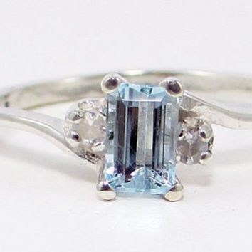 Aquamarine and White Sapphire Ring, 925 Sterling Silver, March Birthstone Ring, Natural White Sapphire Ring, Emerald Cut Aquamarine Ring