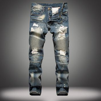 Ripped Holes Slim Jeans [1922679439453]