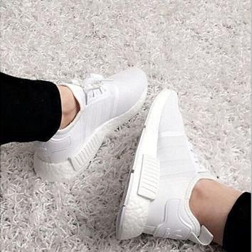 ADIDAS Women Running Sport Casual Shoes NMD Sneakers White