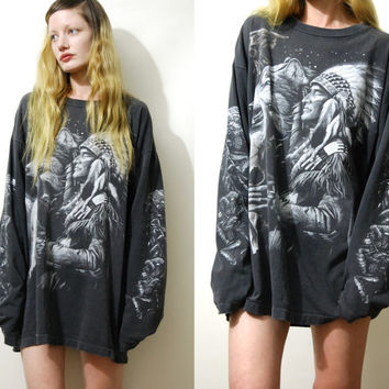 90s Vintage WOLF + EAGLE T Shirt Native American Faded Worn Graphic Tee Tshirt Long Sleeve Top Cotton Boho Grunge Bohemian 1990s vtg xl