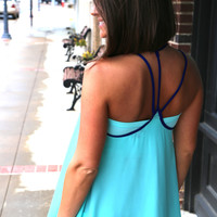 Mint + Royal Cross Back Tank