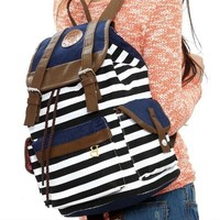 Save4Pay Cute Fashion Women Ladies Girls Backpack Canvas Stripe Leisure Travel Book Bag:Amazon:Beauty