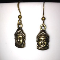 SALE: Bronze Buddha Charm Earrings