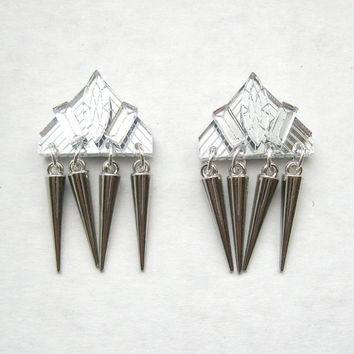 Silver Spike Fringe Earrings - Punk Laser Cut Statement Earrings Modern Grunge