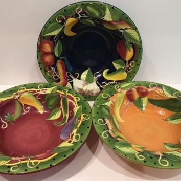 Laurie Gates Peas in Pod 3 Color Coupe Soup Bowl Vegetables Polka Dots Gatesware