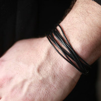 Mens leather wrap Bracelet - Mens leather Bracelet